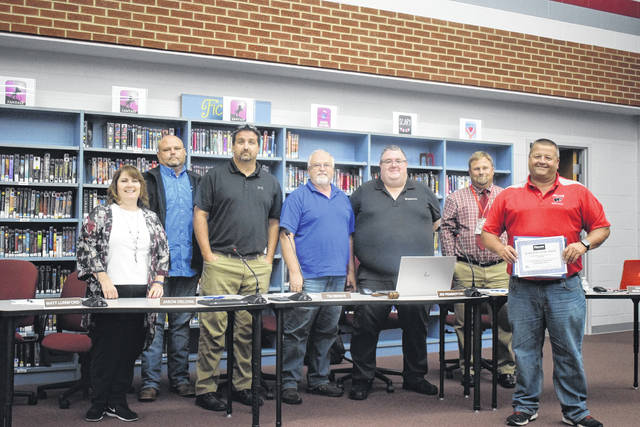 Director of Transportation and Maintenance Jeff Tully and his staff were recognized with the Field of Excellence Award during the Twin Valley Local Community School meeting on Monday, Aug. 26.