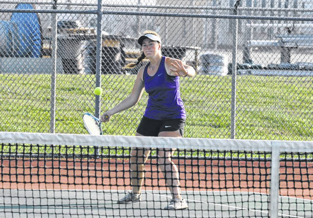Eaton's Erika Wilkinson returns a shot during the Eagles match with visiting Miamisburg on Tuesday, Sept. 10. Eaton won the match 4-1. The Eagles are currently ranked No. 2 in Miami Valley Tennis Coaches Association Division II poll.