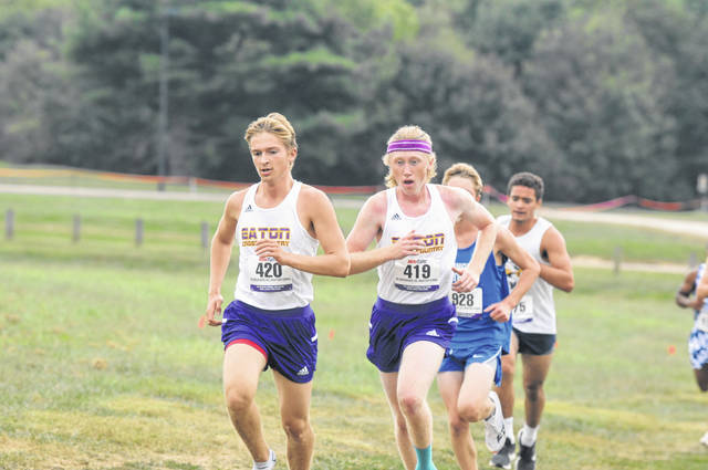 Eaton's Todd Coates (left) and Jack Bortel finished 15th and 16th to help the Eagles to a second place finish at the Bluegrass Invitational on Saturday, Sept. 7.