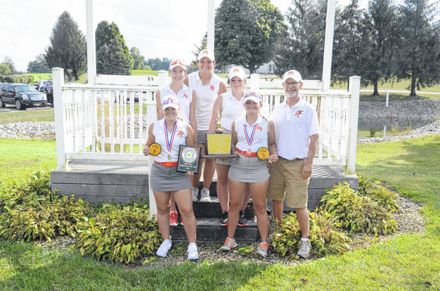 National Trail's girls golf team won the Cross County Conference title last week. The team features Makenna Jones, Katelyn Hines, Cait Gilland, Brooklyn Middleton and Avery Rutan. The team is coached by Gene Eyler.