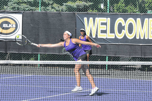 Eaton's Anna Kramer returns a shot during her match in the final of the SWBL Southwestern Division tournament.