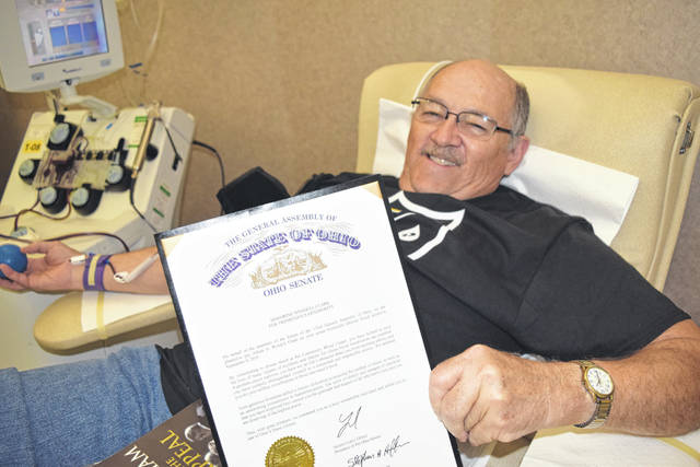 "Wendell Clark received a commendation from the Ohio Senate ""Honoring Wendell Clark for Tremendous Generosity"" in recognition of his milestone 700th lifetime donation on Sept. 9. CBC presented him with the commendation earlier this month."