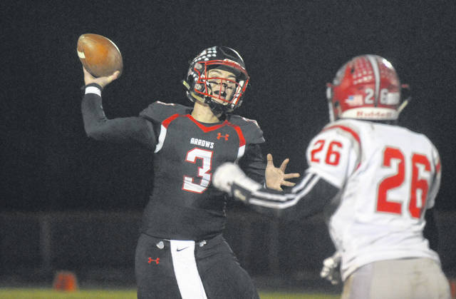 With his five touchdown passes, Preble Shawnee senior quarterback Jake Green set a new career record for touchdown passes. Green completed 17 of 30 passes for 175 yards to guide the Arrows to a 49-14 win over Northridge on Friday, Nov. 1.