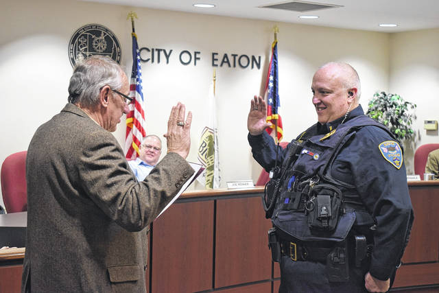 Eaton City Council celebrated David Sizemore's promotion to Eaton Police Lieutenant during its meeting on Monday, Dec. 16. Police Chief Steven Hurd presented Sizemore to council, where Mayor Gary Wagner swore him in to his new position.