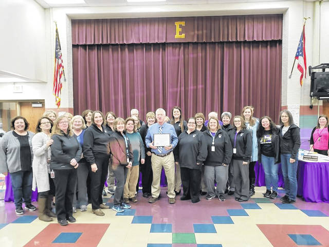 During its meeting on Monday, Jan. 13, the Eaton Board of Education recognized the faculty and staff of William Bruce Elementary for receiving the Momentum Award by the State Board of Education for the third year in a row.