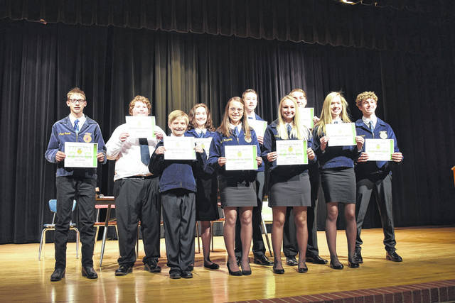 Twin Valley South MVCTC FFA Chapter recognized 11 students during the annual Greenhand Ceremony on Tuesday, Dec. 10.