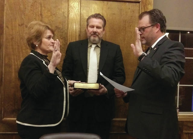 Newly elected mayor Karen Moss took the oath of office during a special ceremony Monday, Dec. 30 at Camden Town Hall. Ohio Representative J. Todd Smith officiated.