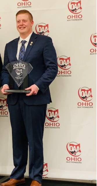 Billy Peyton of Preble County won the recent Ohio Auctioneers Bid Calling Championship Contest in Columbus.