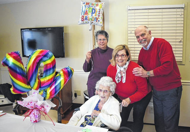 Margaret Wilma Dues celebrated her 101st birthday at Greenbriar Nursing Center on Friday, Feb. 14 surrounded by her children.