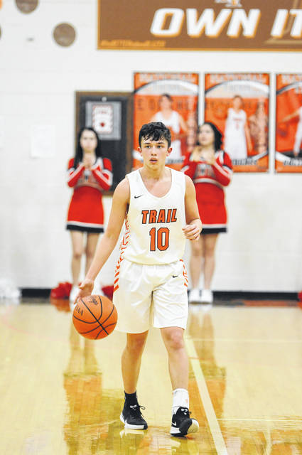National Trail sophomore Michael Leal hit four first-quarter 3-pointers and finished with 12 points in the Blazers 64-35 win over Newton on Tuesday, Feb. 4.
