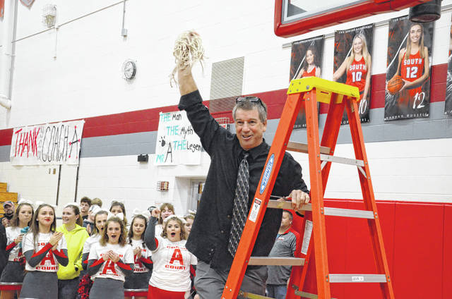 Twin Valley South coach Tony Augspurger coached his final home game on Friday, Feb. 14, after 33 years on the sidelines. The Panthers upset Arcanum 51-49 in overtime.