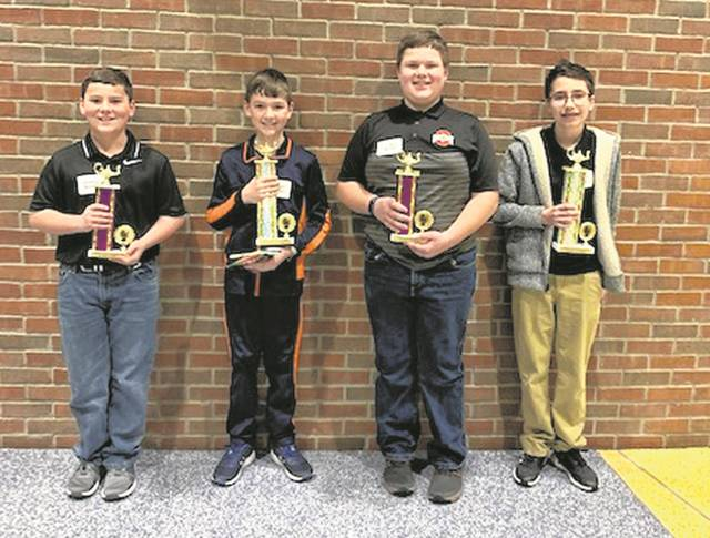 The annual Preble County Geography Bee was held at Eaton Middle School on Monday, Feb. 24. The winner of the 6-7-8 grade division was Kaiden Webb from Eaton Middle School and the runner-up was Luke Menke from Twin Valley South Middle School. The winner in the 4-5 grade division was Samuel DeHart from Twin Valley South Elementary and the runner-up was Jonathan Schmidt from Bruce Elementary (Eaton).