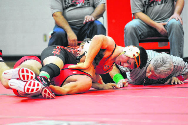 National Trail senior Peyton Lane controls his opponent in the first round during the 24th Annual Panther Invitational on Saturday, Jan. 11. Lane, the state runner-up at 138 pounds in Division III last season, ends the season with a 35-1 record at 145 pounds.