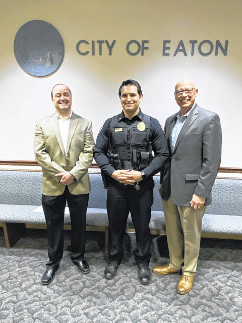 Eaton Police Division (EPD) recently sworn in two First Responder Chaplains to serve the Eaton Community. Pastor Ken Harbaum and Rev. Don Thomas will be working with the department to offer aid to community members in distress and police officers alike. Pictured are Rev. Thomas, EPD Chief Steven Hurd, and Pastor Harbaum.