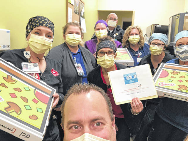 Cassano's Pizza was donated to Preble County Kettering Health Network Emergency Room on Sunday, April 5 by Ohio Grand Chapter Order of Eastern Star.