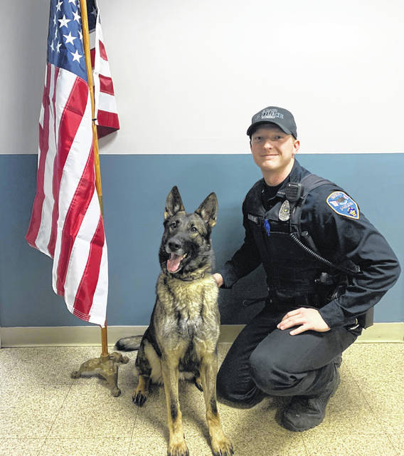 Eaton Police Division's (EPD) new K-9 Rossi received her certification on Tuesday, March 31. Rossi is partnered with Officer Derek Pheanis. She began her new career with EPD the same day and is ready to serve the Eaton community.