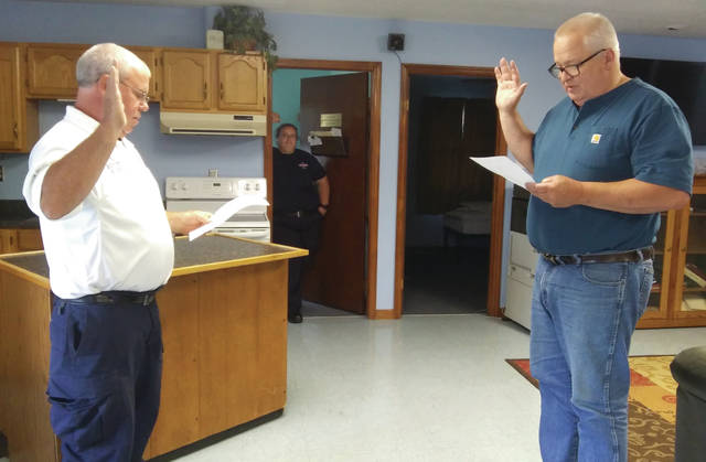 New Fire Department Chief John Glander was elected by West Alexandria village council and sworn in by Mayor Jeff Hickey during a special meeting Wednesday, June 24.