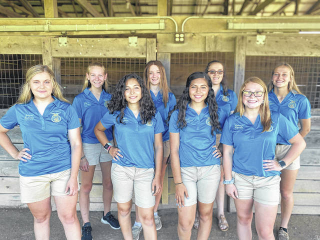 Front row, left to right: Brianne Kosier, Paige Lee, Hannah Lee, Mykenzie Smith Back row, left to right: Alyssa Zdobinski, Madison Myers, Kacy Osswald, Skyler Ward