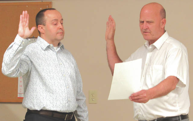 Rev. Don Thomas was sworn in as Chaplain for the local police department during Lewisburg Village Council's second bi-monthly meeting Thursday, Aug. 20.