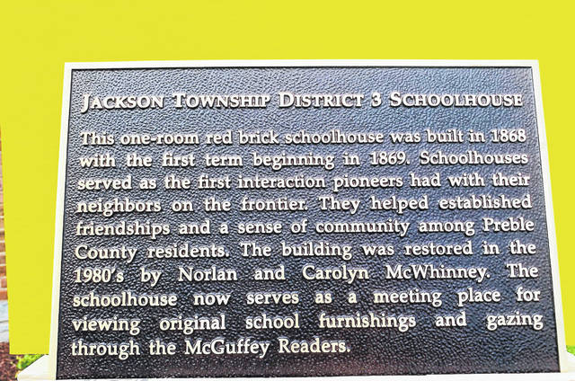 This historic plaque was presented to the Jackson Township District Three Schoolhouse on Sunday, Aug. 23.