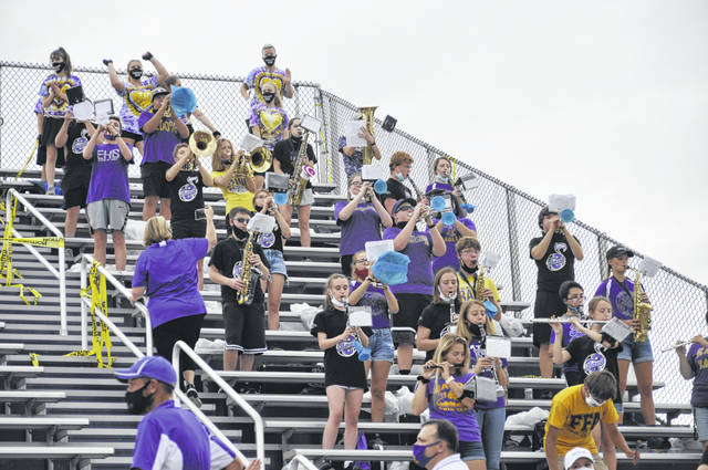 Eaton's band performs before the game against Brookville on Friday, Aug. 28. Eaton lost to Brookville 14-7.