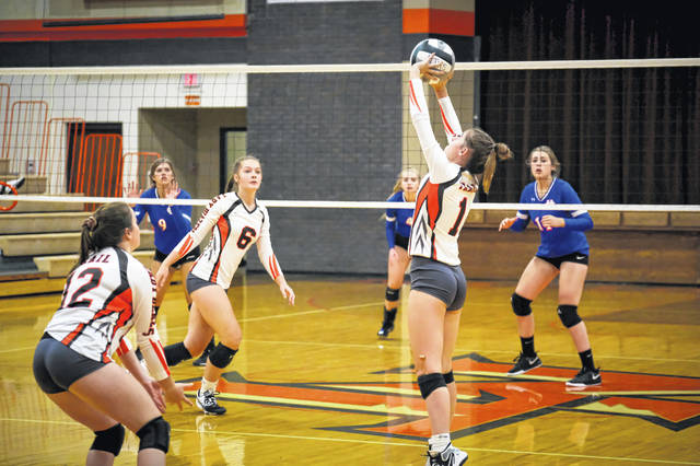 Trail sets up a play during their match against Union County on Aug. 25. Trail would go on to lose in four sets.