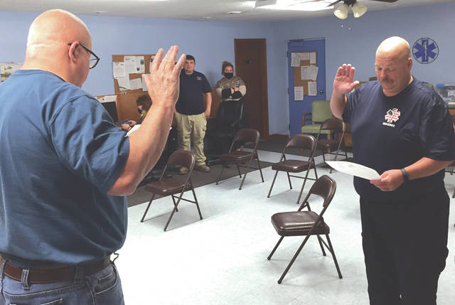 Tom Smith was sworn in as Assistant Fire Chief by Mayor Jeff Hickey at West Alexandria's monthly village council meeting Monday, Sept. 21.