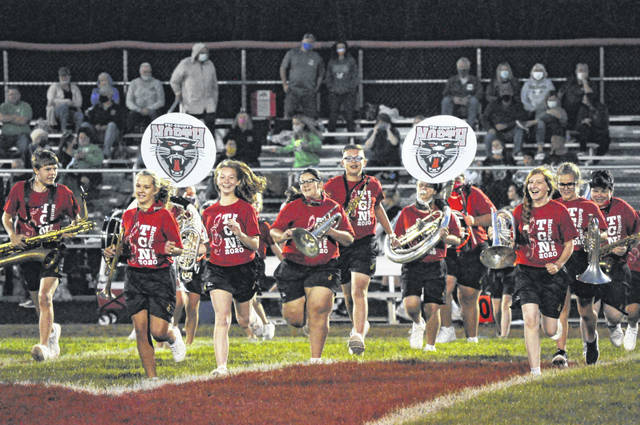 Tri-County North's band takes the field during halftime of North's game against Bethel on Friday, Sept. 11. North won 19-13.