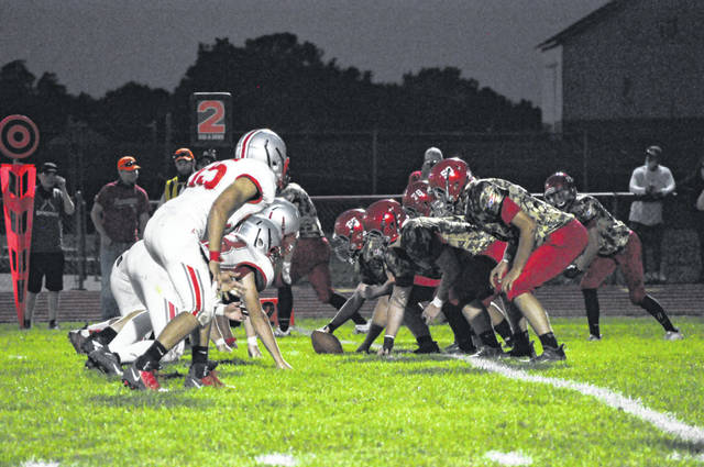 Twin Valley South and Tri-County North line up under the lights during their game on Friday, Sept. 4, 2020. North won 42-7.