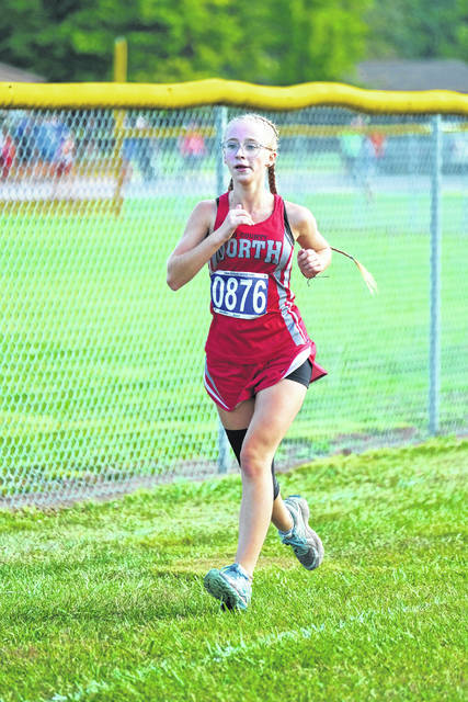 Tri-County North senior Abigail Smeltzer runs during the Brookville Invitational on Saturday, Sept. 12.
