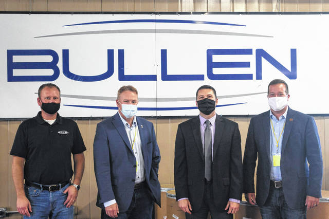 (Left to Right) Bullen Ultrasonics Business Director Greg Fitch, Rep. Warren Davidson, Bullen Ultrasonics President Tim Beatty, Preble County Commissioner Rodney Creech