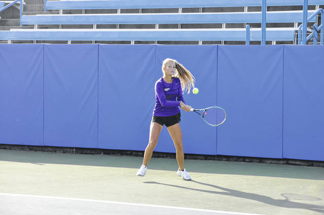 Eaton sophomore Macy Hitchcock competes in the D-II State Tennis Singles Tournament semifinals against Alexis Nyborg on Saturday, Oct. 24. Hitchcock won the match 6-3, 6-0.