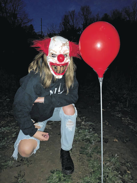 "Alexandra Bettker, Eaton High School Sophomore as the clown from ""IT."""