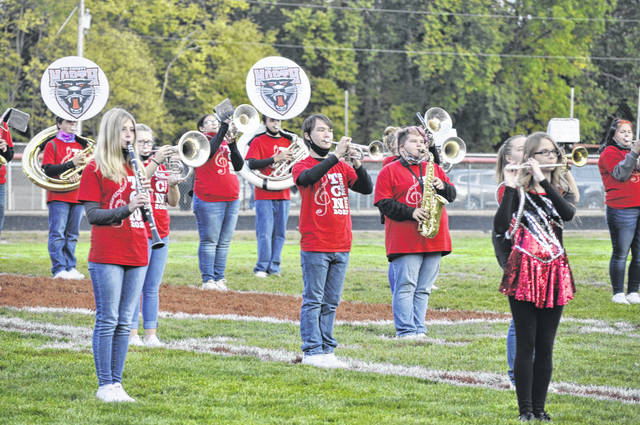 Tri-County North's band performs before North's game against Ansonia on Friday, Oct. 2. North lost 22-21.