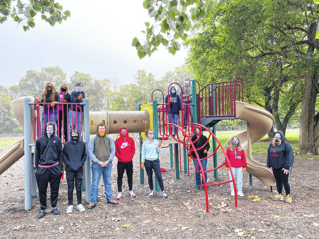 Members with the completed Lewisburg Park playground.