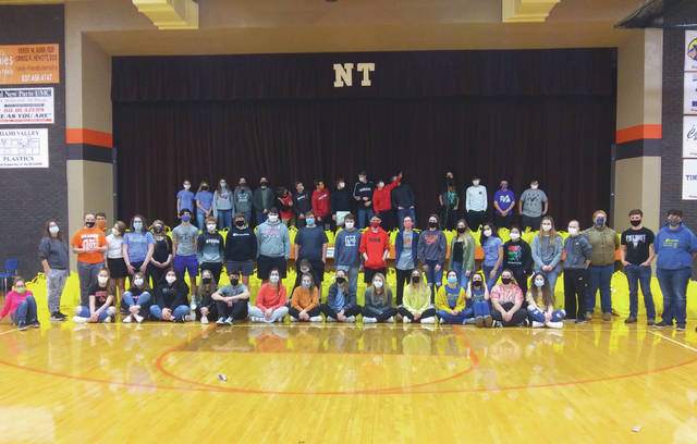Over 80 National Trail students prepared meals for 500 needy families in Preble County on Tuesday.