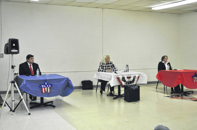 Commissioner candidates Adam Craft, Mary Bullen and Rachael Vonderhaar participated in a town hall on Monday, Oct. 12.