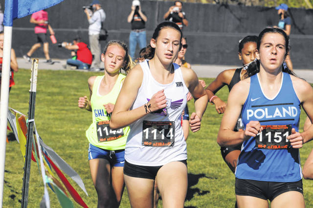 Eaton sophomore Kiera Elliott helped lead the Eagles to a 13th place finish in the Girls Division II State Cross Country Championship meet on Saturday, Nov. 7 at Fortress Obetz. Elliott finished 62nd overall with a time of 20:08.9.