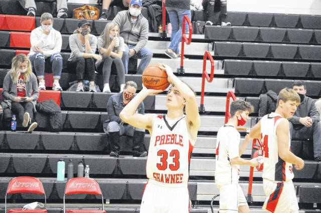 Preble Shawnee senior Bryce Singleton warms up before Shawnee's game against Northridge on Friday, Dec. 4. Shawnee won 72-69.