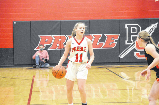 Preble Shawnee sophomore Campbell Jewell surveys the court during Shawnee's game against Waynesville on Thursday, Dec. 3. Shawnee won 46-34.