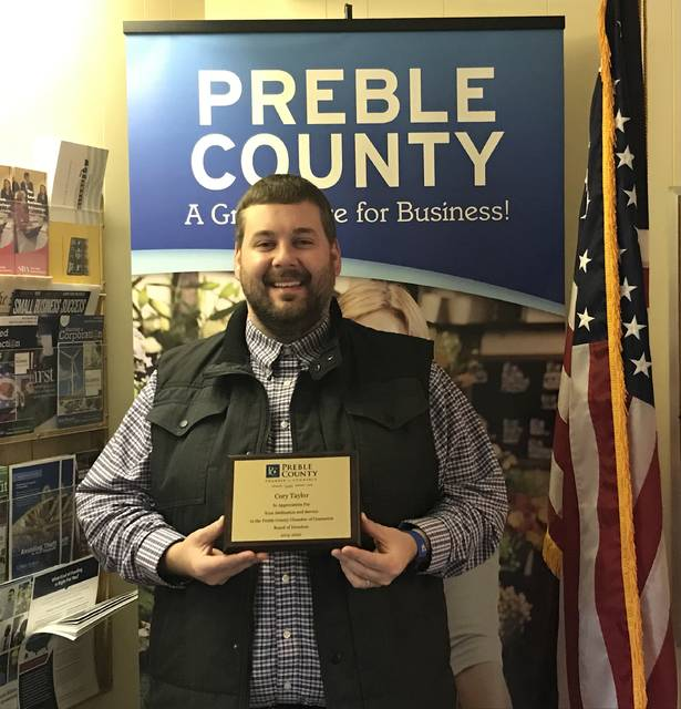 Preble County Chamber of Commerce Board of Directors 2020 Treasurer Cory Taylor was also recognized for his service. Taylor has reached his term limit and will be missed, according to chamber officials.