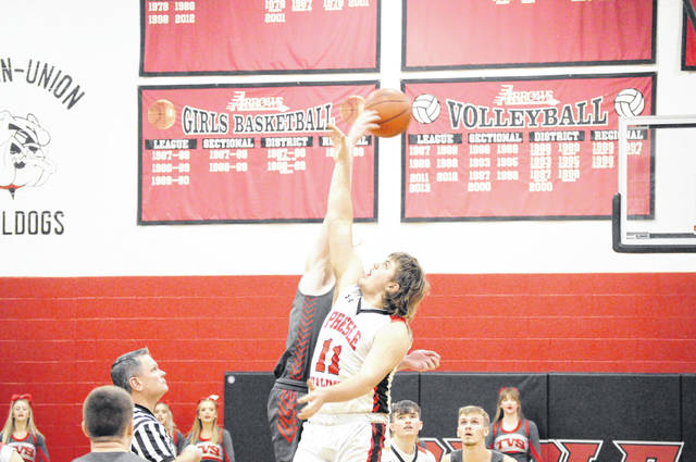 Twin Valley South wins the tip against Preble Shawnee on Saturday, Jan. 30. Shawnee won 61-41.