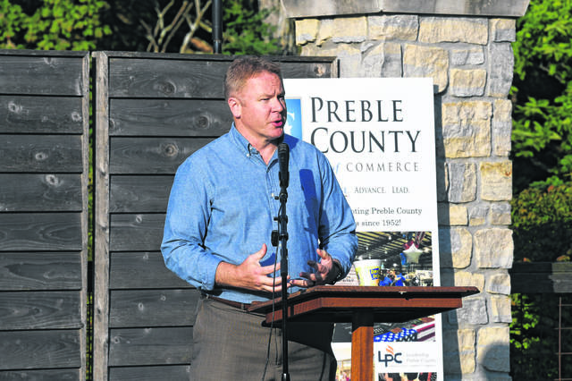 Rep. Warren Davidson speaks at the Preble County Historical Society on Aug. 8, 2020.