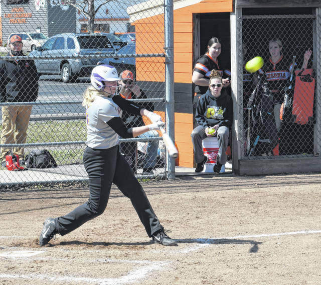 Eaton sophomore Olivia Buamann had a big day against Ansonia. In two games, she combined to go 7-for-11 with a home run and seven RBI as the Eagles swept the Tigers 8-4 and 17-11.