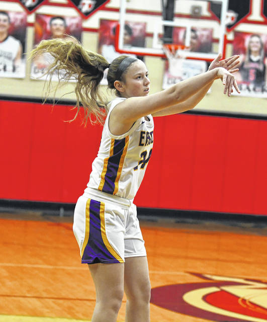 Eaton junior Allison Mowen launches a 3-pointer during a district semifinal game against Trotwood on Monday, Feb. 22. Mowen finished with 10 points, but Eaton fell 68-67.