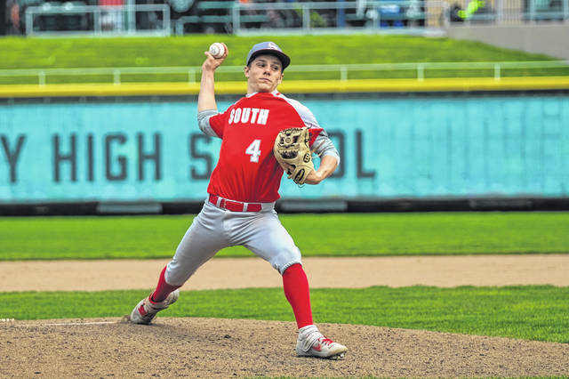 Twin Valley South's Brayden Burkett delivers on the mound against Ansonia at Day Air Park on Saturday, April 17. South won 7-4.