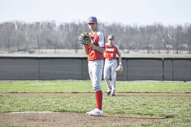 Twin Valley South's Gage Miller pitched five shutout innings in a 13-0 win over Tri-County North on Tuesday, March 30.
