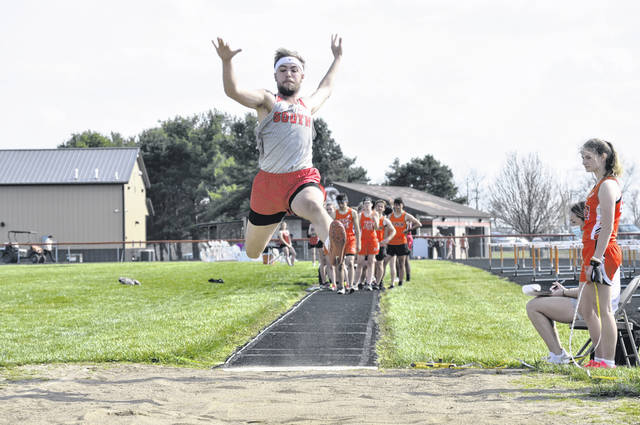 Twin Valley South's Tyler Wright competes in the long jump at the Blazer Relays on Tuesday, April 6.