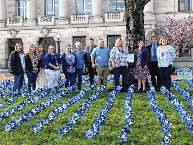 The Preble County Board of Commissioners presented representatives from Job and Family Services with a proclamation declaring April as Child Abuse Prevention Month.