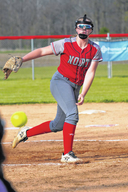 Tri-County North senior Sidney Jackson delivers a pitch on Senior Day against Yellow Springs on Friday, April 23. North won 20-4.